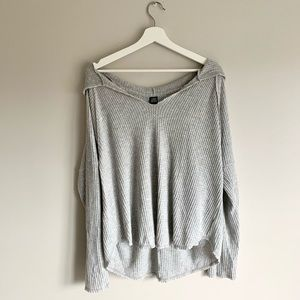 Wild Fable Gray Waffle Hooded Long Sleeve Top